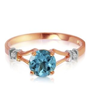 GOLD RING WITH NATURAL DIAMONDS & BLUE TOPAZ